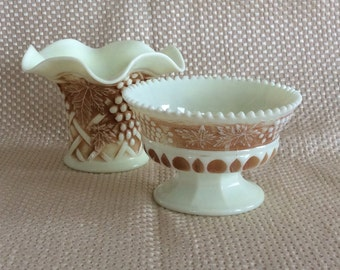 Antique Northwood Custard glass Grape & Cable Nutmeg stained sauce or sherbet dish