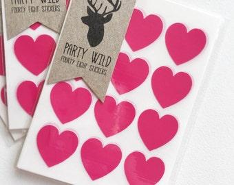 Mini Heart Stickers Pk48 - Rose Pink