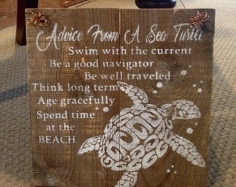 Rustic Barnwood Sea Turtle Sign