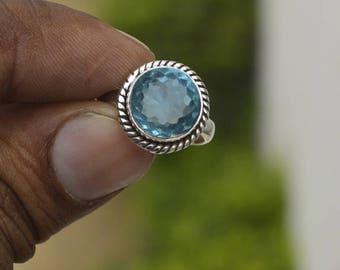 Blue Topaz Sterling silver Rings,  Round Cut Blue Topaz Gold ring, Birthstone ring, Bezel Set Ring, Round Cut Blue Topaz Handmade Jewelry