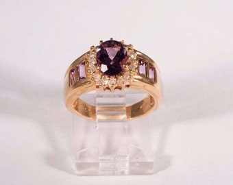 14K Yellow Gold Amethyst and Diamond Ring, size 5.75