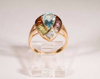 14K Yellow Gold Ring with Multi-Colored stones, size 6.25