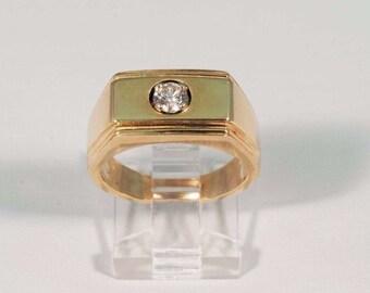 14K Yellow Gold Mens 3/8 ct. Diamond Ring, Size 8
