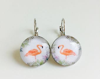 Earrings cabochon pink flamingos