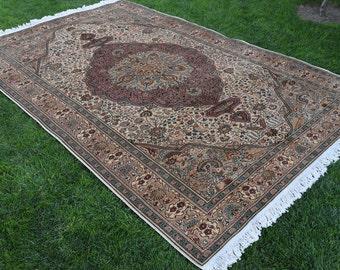 Vintage Turkish Oushak Rug Hand Knotted Precious Antique Anatolian Tribal Handmade Rug Vintage Carpet Muted Colored Turkish Vintage Carpet