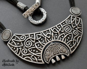 Moon necklace Statement jewelry Celtic necklace Statement necklace Black necklace Gothic necklace Polymer clay jewelry for women Gift .mns