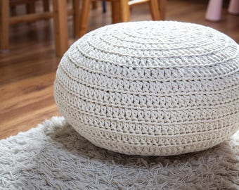 Knitted pouf / ottoman Crochet1 47 colors / 45x50 cm or 60x30 cm