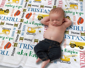 Construction Baby Blanket - Custom Baby Name Blanket - New Baby Gift - Construction Baby Bedding - Newborn Photo Prop - Baby Keepsake Gift