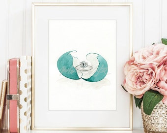 Tiffany & Co. ring, water color art prints, gift for her, girl office decor, jewellery illustration wall art, home decor, DIGITAL DOWNLOAD