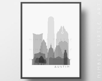 Austin Skyline Printable Download  -  Black and White  -  Grayscale - Austin Texas Gallery Wall Art