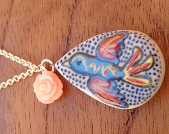 ceramic pendant, hi temperature, hand made, unique, flower, bird, necklace, Handmade Jewelry, Ceramic Jewelry, mexican Jewelry