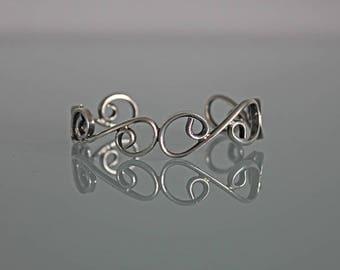 Vintage Sterling Silver Cuff Bracelet, Sterling Silver cuff Bracelet