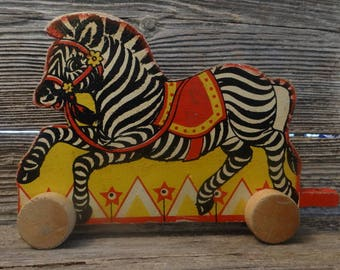 Wood toy/Vintage Circus Zebra Wood Pull/Push Toy - Fisher Price?