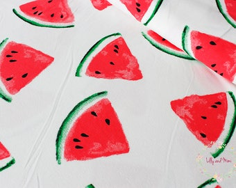 Watermelon on ECRU cotton jersey, one unit is 0.5m