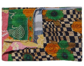 Reversible Twin Size Quilt ,Ethnic Floral Design ,Vintage Kantha Quilt ,One of Kind,Indian Handmade ,Throw Quilt #1004