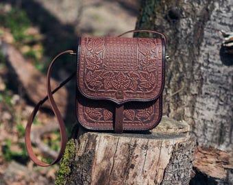 """Brown Leather Shoulder Bag """"Maple"""" - Crossbody Bag - Handbag - Ethnic Bag - Messenger Bag- Men Handbag - Women Handbag - Woman Handbag"""