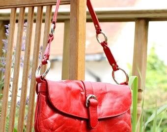 90's Vintage Red Boxca Denmark Leather shoulder bag, 29 cm x 15 cm, Small Vintage Red Shoulder bag