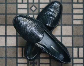 Black Leather, Weaved Loafers