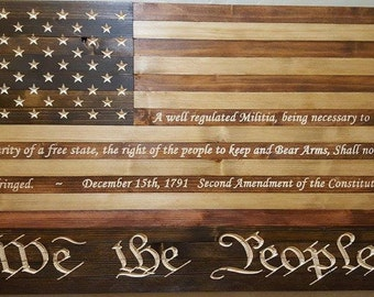 50 Star American Flag We the People 2nd Amendment Flag Sign Carved Re-claimed Lumber FREE SHIPPING