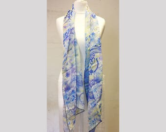 Blue butterfly silk chiffon scarf