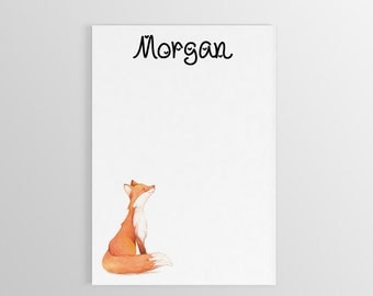 Personalized Fox Notepad ~ Custom Notepad ~ Personalized Notepad ~ Fox Gift ~ To Do List ~ Custom Gift ~ Notepad for Kids