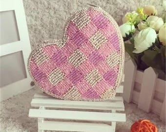 Handmade mini beaded coin purse, Glass beading bag, Earphone bag