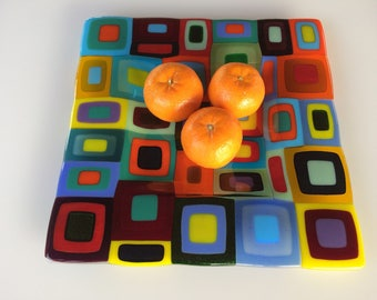 Large multi coloured retro fused glass dish