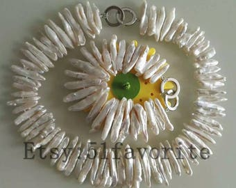 pearl necklace bracelet set - genuine cultured white biwa pearl necklace bracelet wedding jewelry set