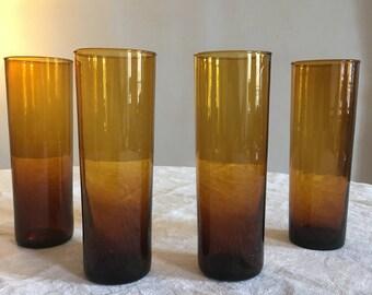 4 large orange Orange vintage glasses