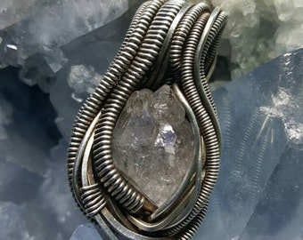 Oxidized Silver Fill Heady Wire Wrapped Herkimer Diamond  Pendant