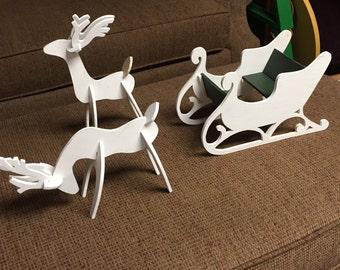 Wood Santa Sleigh With 2 Reindeer