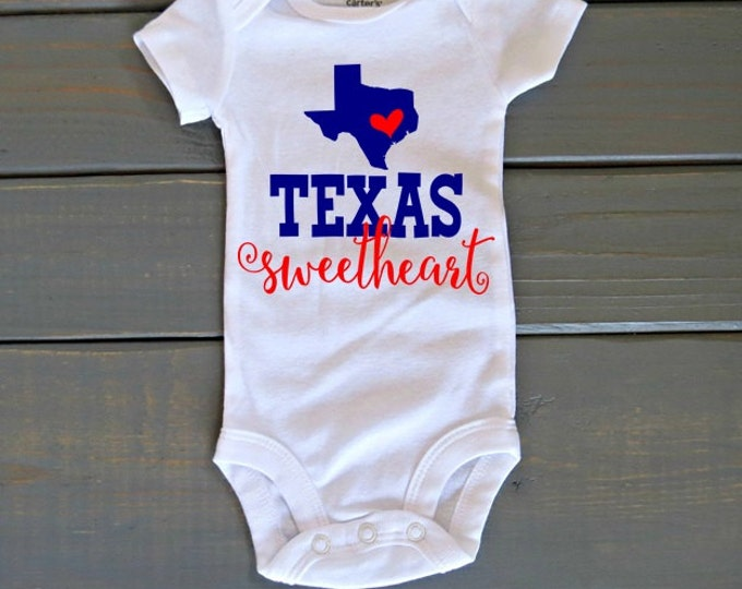 Texas Sweetheart Bodysuit, Cute Baby Girl Clothes, Baby Shower Gift, Texas Shirt