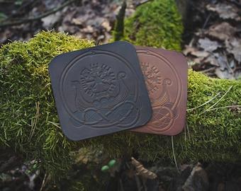 "Leather Coasters ""Drakkar"" Set"