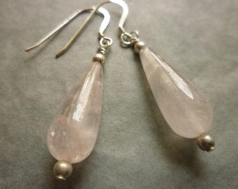 Rose quartz drop earrings with sterling silver earwires