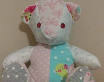 Memory Bear, bear made with baby clothes, keepsake bear, keepsake memory bear, baby clothes bear, bear made with clothes