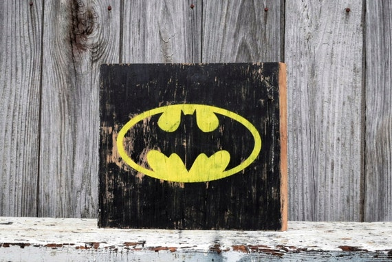 Distressed batman sign on reclaimed barn wood dc comics for Reclaimed wood dc