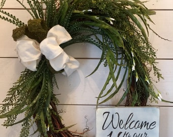 Extra large oval wreath, greenery, door wreath, farmhouse decor, welcome sign, welcome wreath, wood sign, distressed sign, greenery wreath