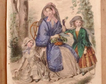 Old engraving, newspaper girls 1849, France fashion Magazine