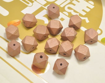 Faceted Geometric Wood Beads,20pcs Hand Painted beads,20mm Brown wooden bead ,Geometric wooden beads for necklace/bracelet Jewelry