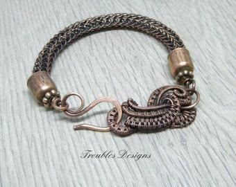 Viking knit bracelet, viking knit jewelry, chunky bracelet, woven jewellery, wire jewelry, copper bracelet, torque bracelet, wire wrapped
