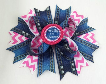Blue Jean Hair Bow -Hair Accessories/Little Girl Hair Bow/Toddler Hair Bow/Tween Hair Bows /Accessory/Pink/Jeans/Bottle Cap/Stack Hair Bow