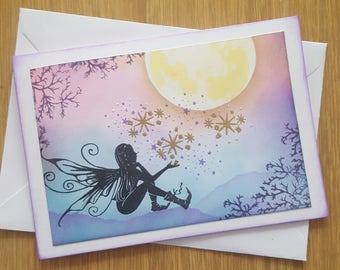 Handmade Fairy Card- fairie card, magical card, fae card, blank card, thank you card