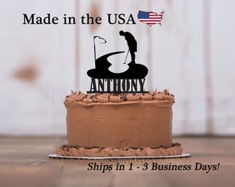 Golf Cake Topper, Golf Male, Golf Putter, Sports Cake Topper, Boy Birthday, Theme Party Decor, Personalized Cake Topper, Keepsake, LT1134