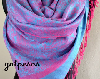 Pashmina Scarf Shawl for Women BLUE / PINK