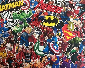 Set of stickers from marvel, DC comics superhero, avengers, x - men, batman, superman