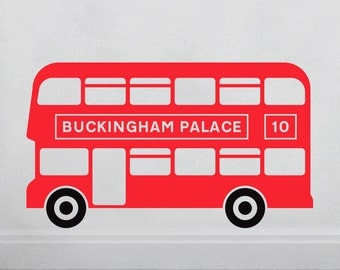 London Bus Wall Decal  **CUSTOM LOCATION ADDED**