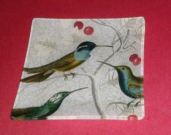 "Beautiful HUMMINGBIRD Glass Trinket Dish / Plate (4.75"") - Made by Fringe Studios"