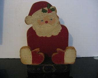 SALE! - Vintage 1960's All Wood Santa Claus Letter/Napkin Holder