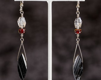 Black Tourmaline earrings with garnet, tourmalinated quartz and sterling silver