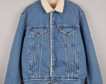 levis sherpa, dark blue sherpa, levis beige sherpa, levis shearling jacket, levis denim jacket, vintage levis